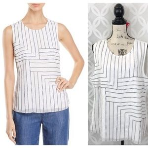 Nic+Zoe Dot & Stripe Embroidered Top NWT